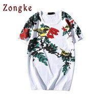 2018 New Japan Style Flowers And Birds T Shirt Men T Shirt Camiseta Masculina Casual Tee