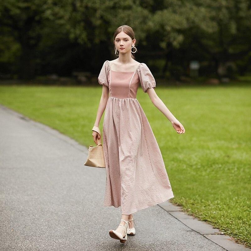 Été dames Vintage élégant longue robe Plaid Modis rose/vert rétro vestidos sukienka femmes vêtements 2019 robe longue femme nouveau