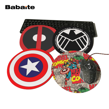 Babaite Design Marvel Comics Painting Mouse Pad Durable Desktop Computer Animation Round Mice Pad