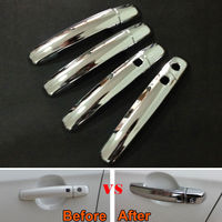 8Pcs ABS Car Door Handle Catch Cover Cap Trim Molding With Smart Key Hole Fit For