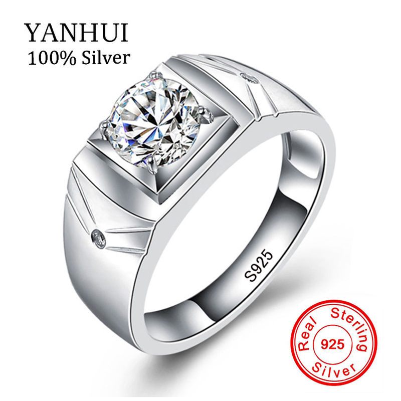 YANHUI Real Solid 925 Sterling Silver Rings for Men Wedding Engagement Ring Fashion Zircon CZ Jewelry XMJ001