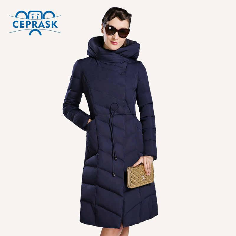 CEPRASK 2018 Высокое Качество Зимняя Куртка Женская Большой Размер Длинные Модные Зимние Пальто женское С Капюшоном Теплый Пуховик парка био пух