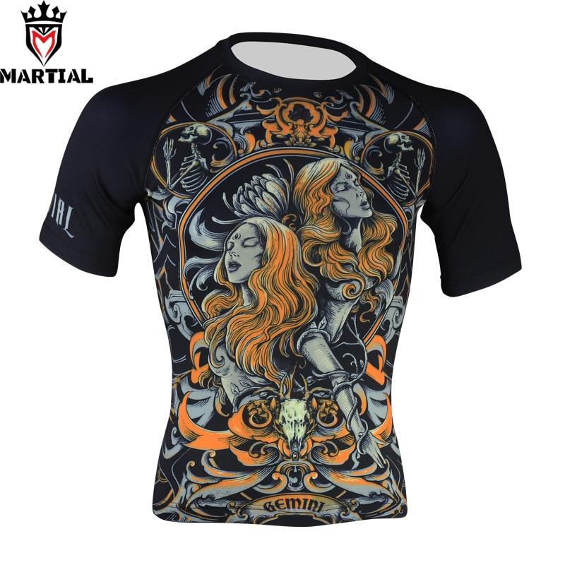Martial :Gemini cheap mma rashguards boxing jerseys men's quick-dry shirt athletic quick dry shirt