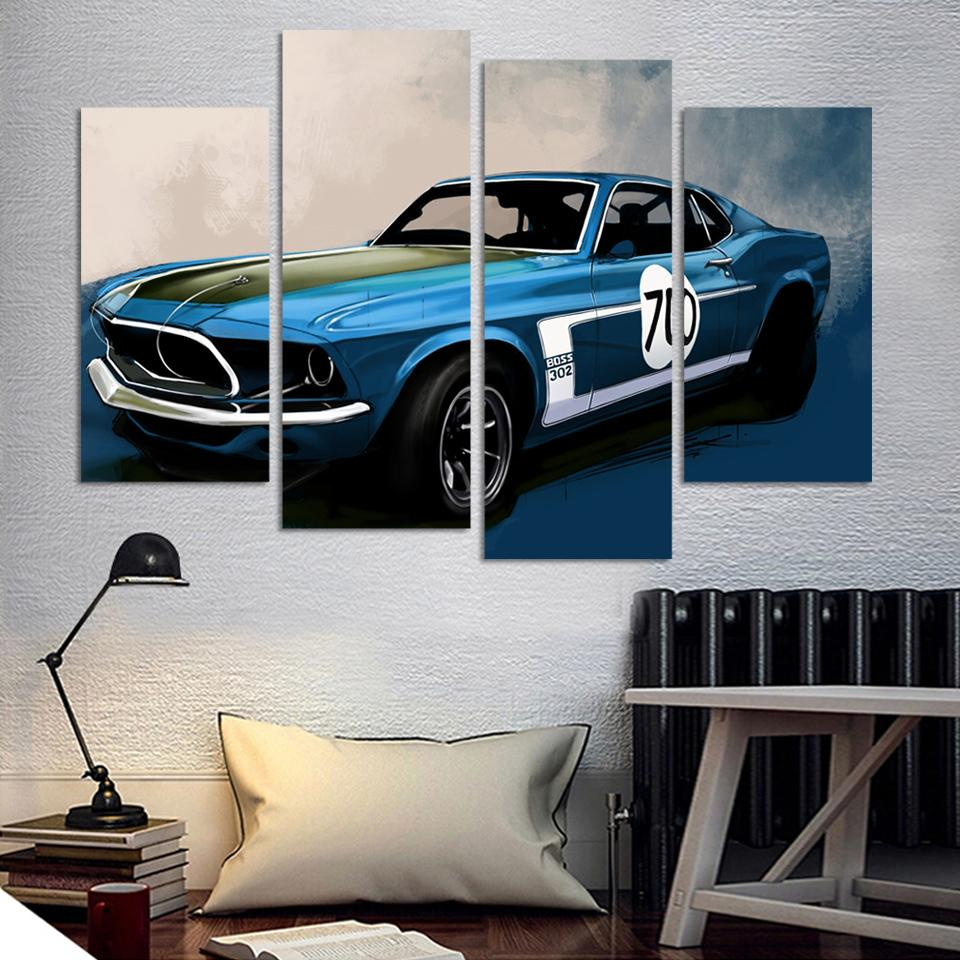 4 pcs blue sports car wall art painting home decoration living room canvas print painting on