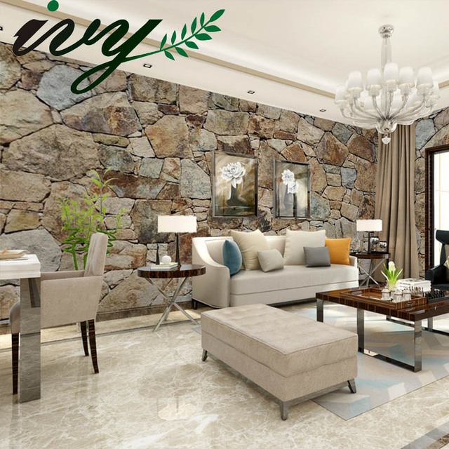 Ivy Morden 3d Photo Wallpaper Stone Wall Paper For Walls Wall Papers Home Decor Wood Brick Wall