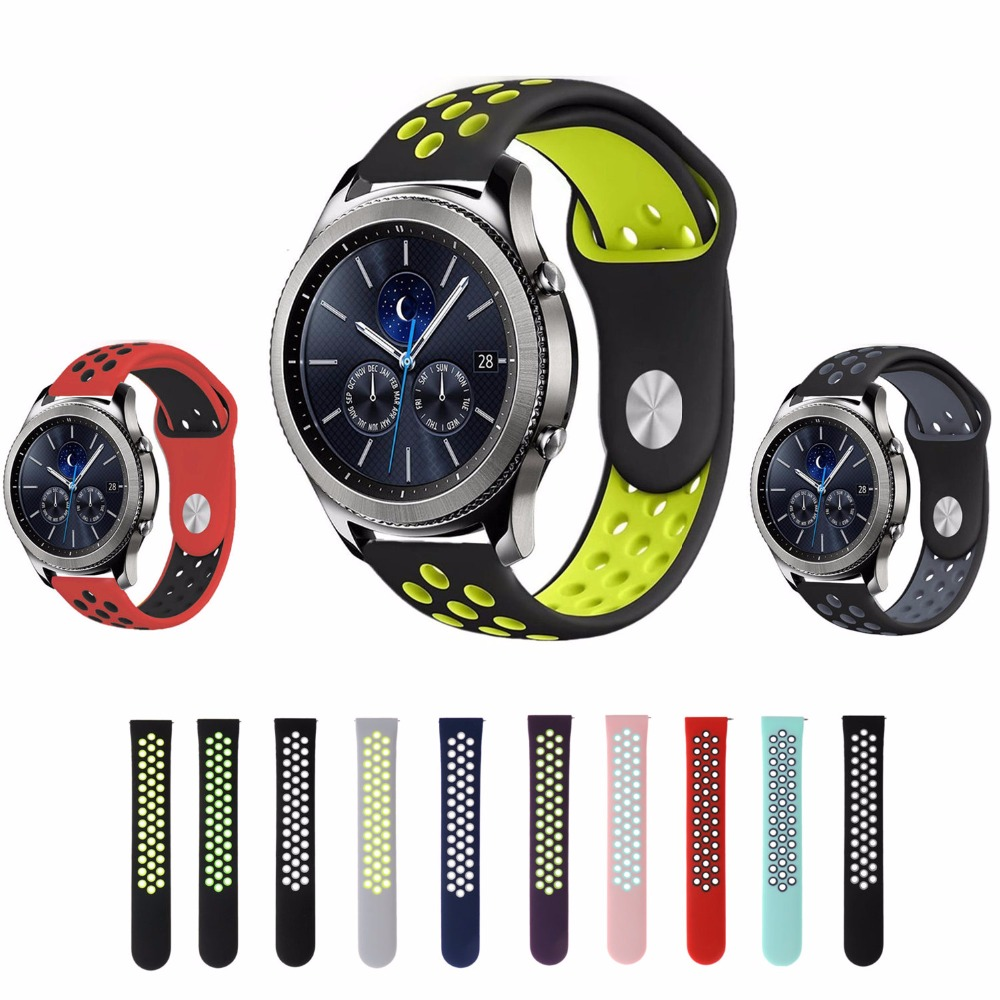 22mm Sport silicone strap band for samsung gear s3 frontier/classic smart watch rubber Bracelet replacement watchband 2016 silicone rubber watch band for samsung galaxy gear s2 sm r720 replacement smartwatch bands strap bracelet with patterns