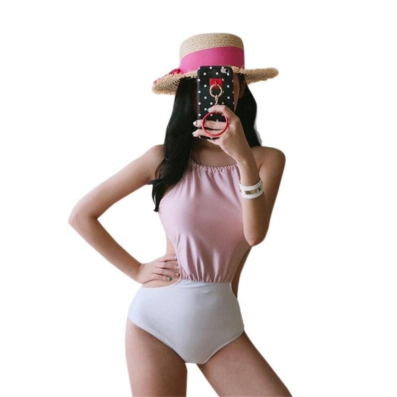 High Neck Monokini Women Halter Swimsuit Femme Bandage Swimwear Backless Bathing Suit 2018 Swim Wear Push Up Beachwear Patchwork red one piece swimsuit 2017 women bandage swimwear sexy high cut trikini backless monokini push up bathing suits thong beachwear