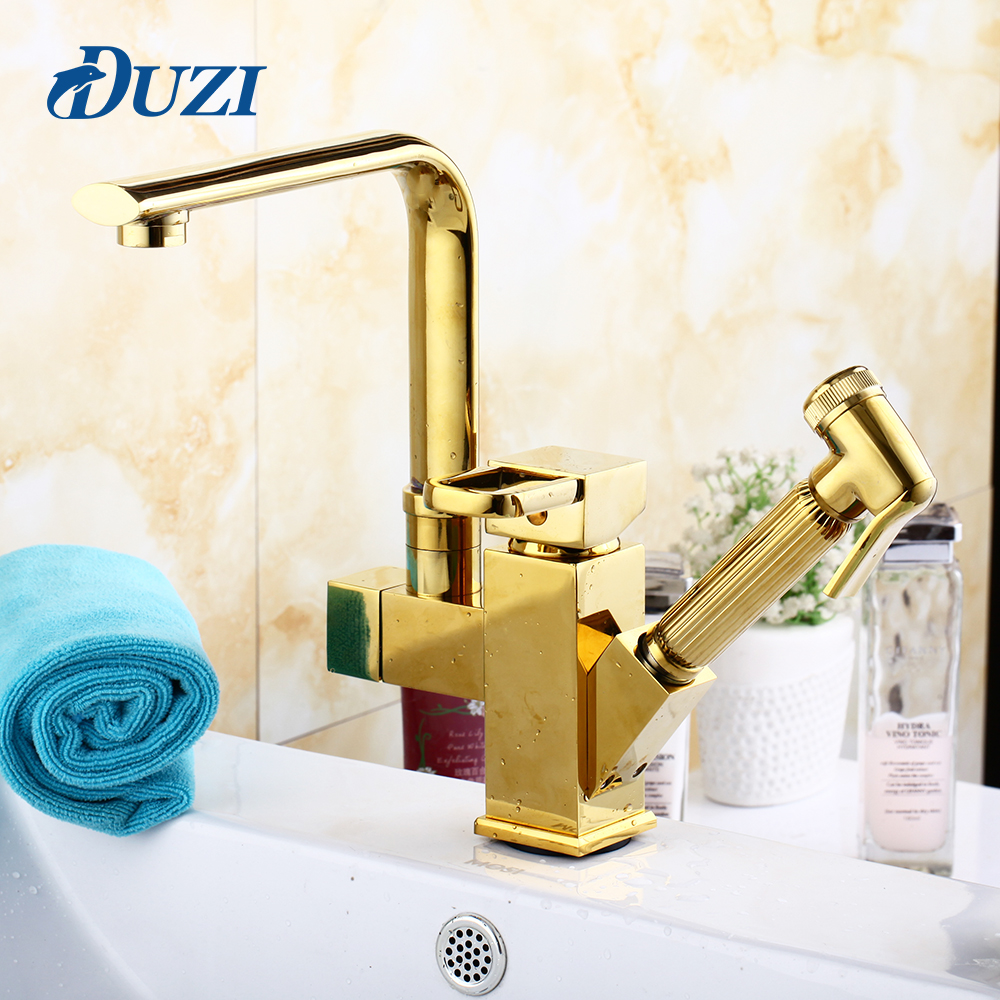 DUZI Bathroom Faucets Golden Finish Pull Out Basin Faucet Single Hole Basin Mixer Brass Ceramic Cold and Hot Bathroom Mixer Taps bathroom basin faucets modern chrome finished bathroom faucet single hole cold and hot water tap basin faucet mixer taps