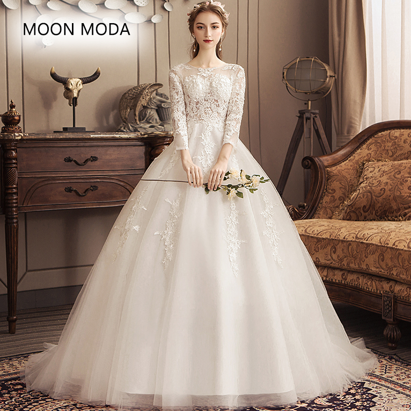 Long sleeve wedding dress 2019 with long tail bride dress plus size ball gown muslim wedding-dress vestidos de novia real photo
