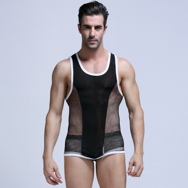 83c27285400aec Fashion Brand Men Transparent Mesh Tank Tops Male Sexy Breathable Fabric  Tops Casual Sleeveless Tight-