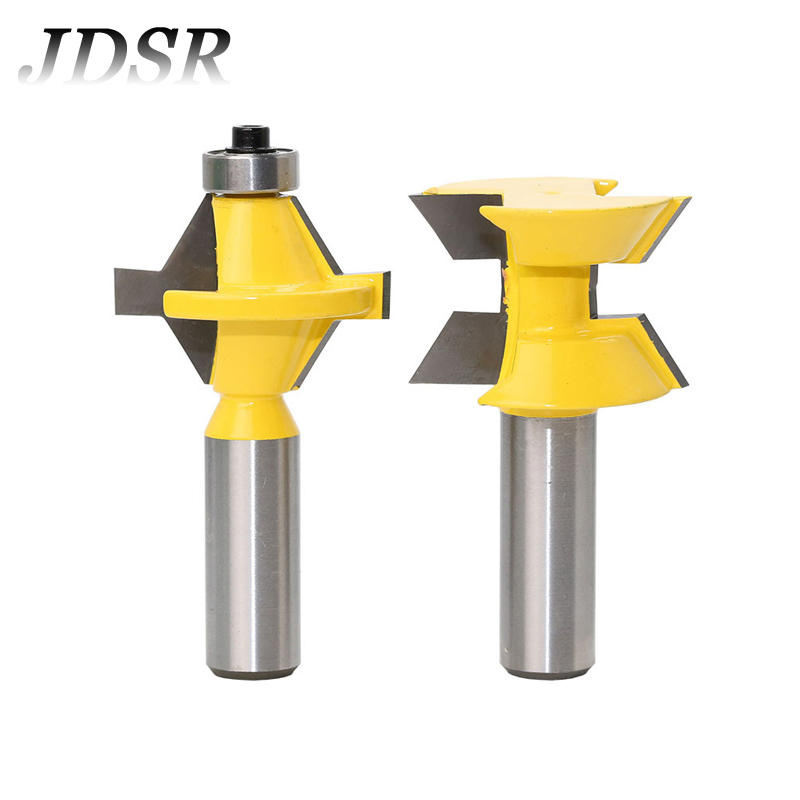 JDSR 2Pcs 1/2Shank Router Bit Set 120Degree Woodworking Lock Miter Finger Joint Tongue Tenon Groove Chisel Milling Cutter Tools цена