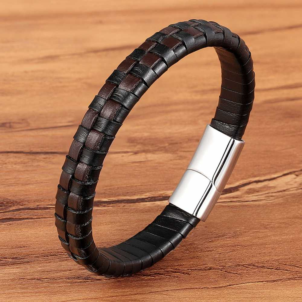 XQNI Classic Design Hand-woven Bracelet Personality Gift For Men Genuine Leather Bracelet&Bangle Special Birthday Party Jewelry