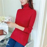 Autumn and winter Korean Turtleneck Shirt female elastic Hitz thin coat sleeve sweater dress