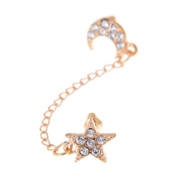2017 Limited Sale Star Rhinestone Trendy Zinc Alloy Women Earings Brincos 1 Two Piercing Ear Cuff Ring Chain Double Earring 3