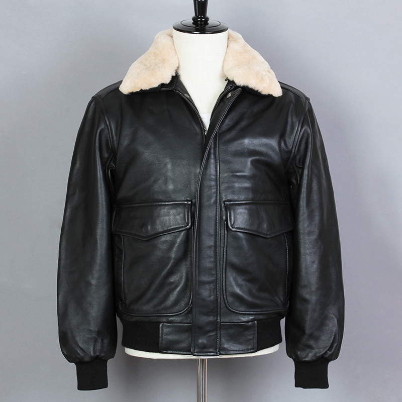 2019 Fashion Air Force Bomber Jacket Black Genuine Leather Jacket Men Sheepskin Fur collar Loose Real Leather Winter Coat(China)