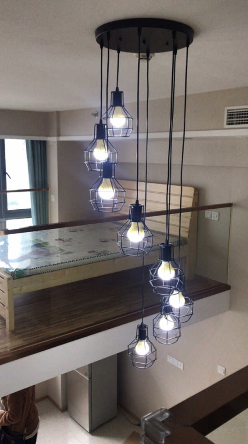 Modern simple staircase dining room chandelier restaurant creative personality villa double revolving stair lamp pendant lamp