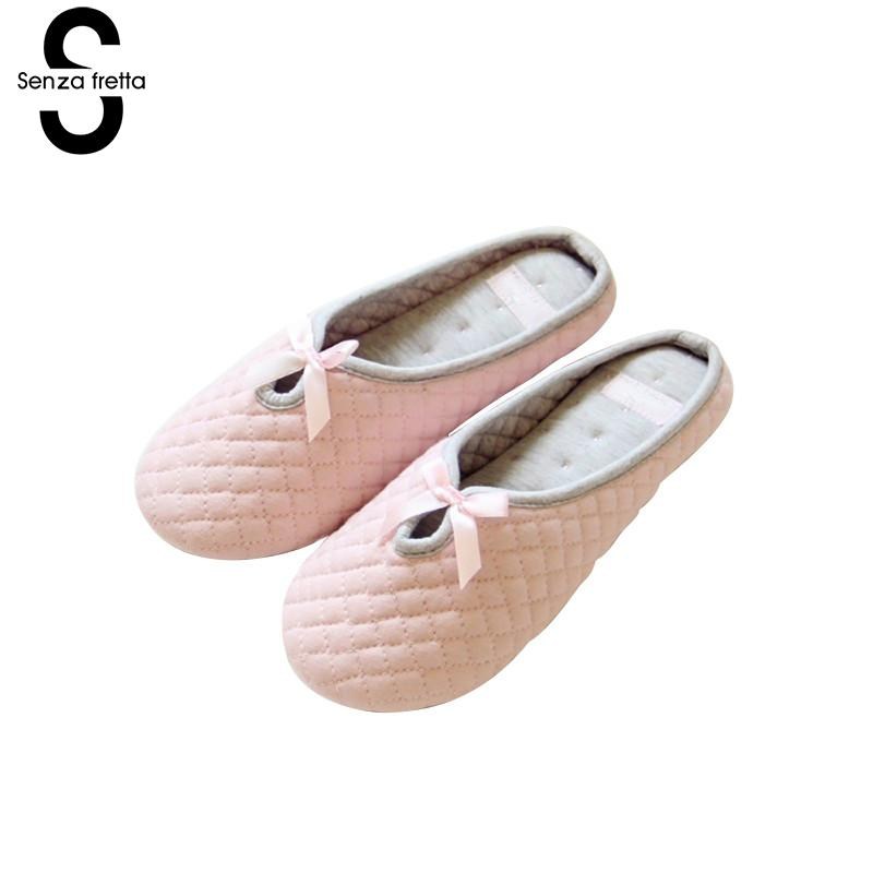 Senza Fretta Winter Warm Slippers Soft Bottom Cotton Warm Slippers Adult Guests Office Home Slippers Confinement Shoes Women