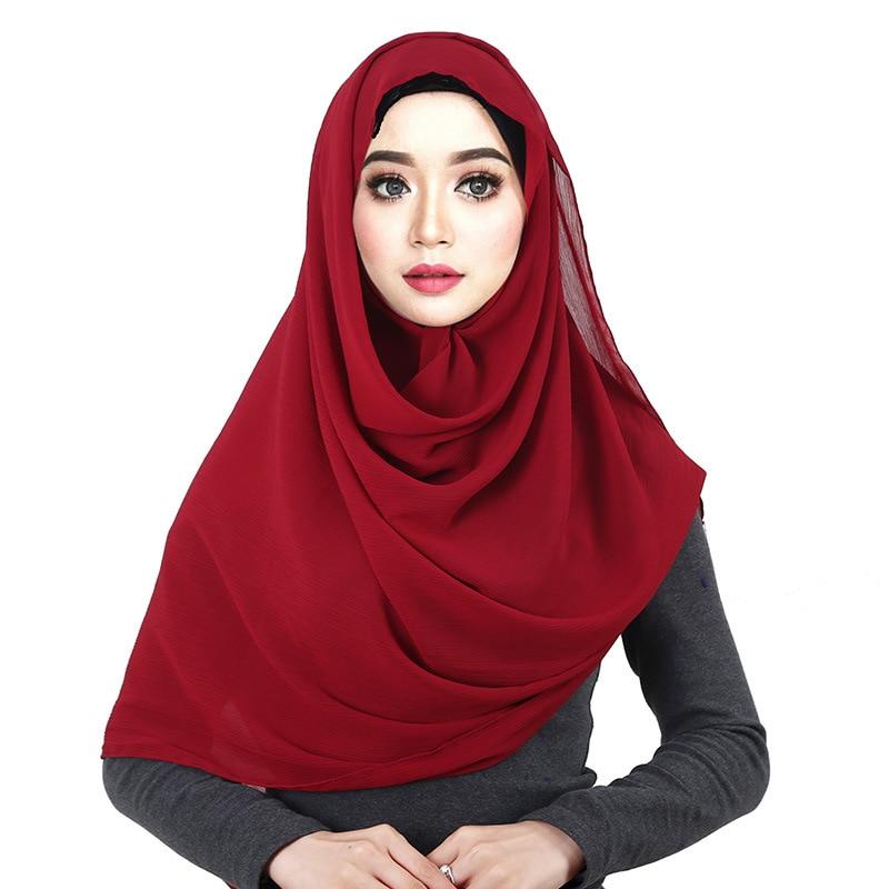 women solid crepe chiffon hijab   scarf     wraps   soft shawls muslim cover crinkle chiffon   scarves   pareo headcloth bandanna female