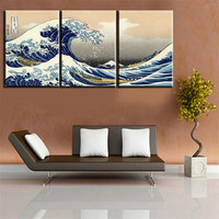 Canvas Painting Seascape Landscape 3 Panels Traditional Art Scenery Picture Great Wave Off Multi Panel Canvas