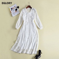 White Long Dress Women Top Quality Cross String V Neck Hollow Out Lace Embroidery Ruffles Princess