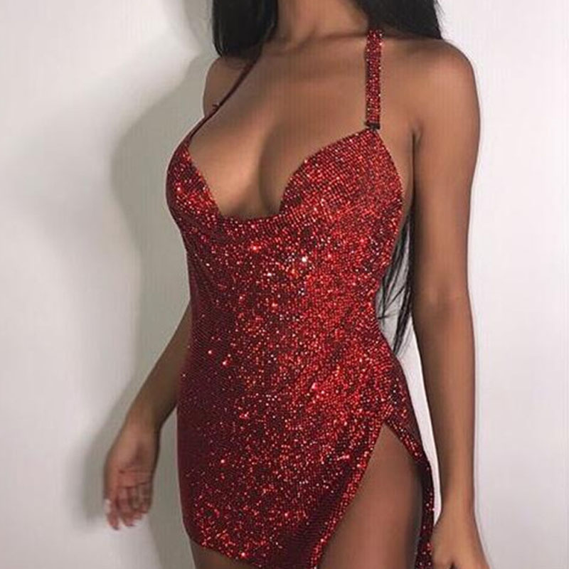 92665d4b048 Red Dress For Christmas Hand Made Sparkle Sexy Open Back Halter Neck  Sequins Dress Glitter Slit Diamond Nightclub Party Dress-in Dresses from  Women's ...