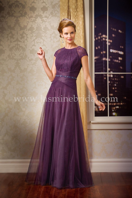 2017 Evening Dress Purple Plus Size Custom Made Crew Neck Sash Cap ...