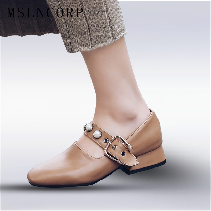 plus size 34-50 New Fashion Spring Summer Elegant Square Toe pearl Buckle Strap Square Heel Woman British Mary Jane Casual Shoes lankarin brand 2017 summer woman pointed toe flats ladies platform fashion rivet buckle strap flat shoes woman plus size
