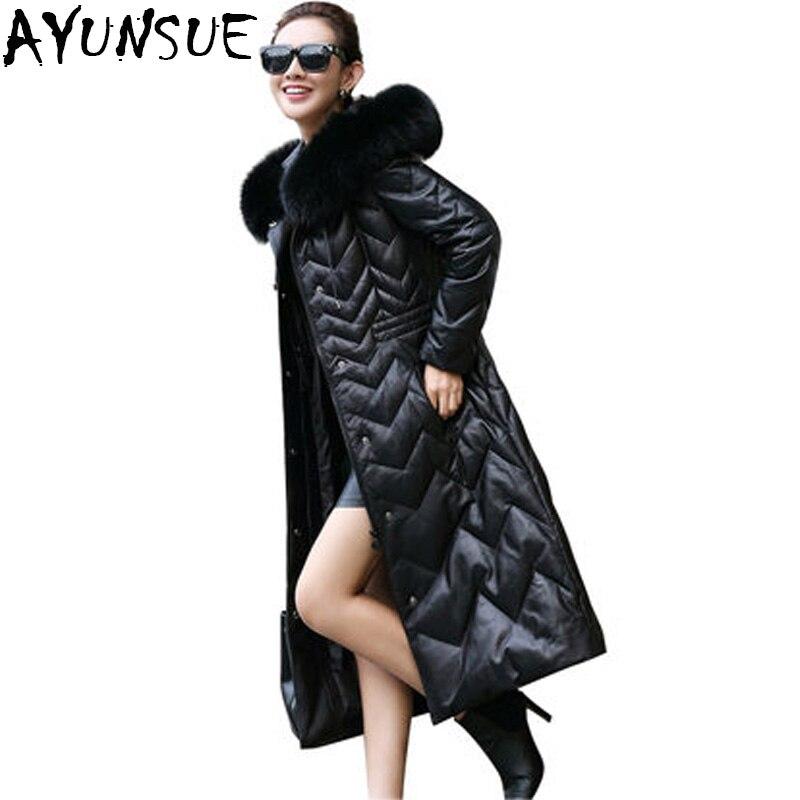 Genuine Leather Jacket Women Winter Warm 90 Duck Down Jacket Sheepskin Coat For Women Long Parka