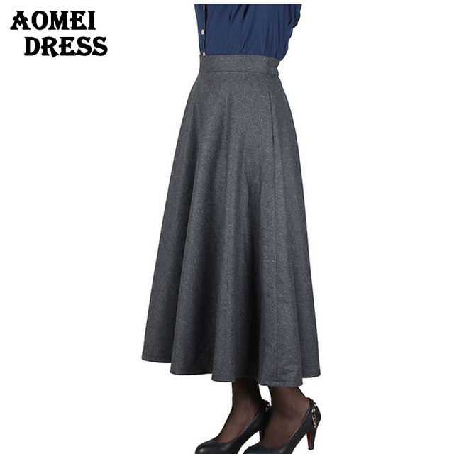 e3053489e7 Hot Sale High Waist Long Ankle Length Skirts for women Spring Autumn Plus  size red falda jupe green red pleat office work wear