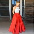 Formal Style Red Full Length Skirt Personalized Zipper Waistline A Line Floor Length Long Maxi Skirt Pockets Skirts Women