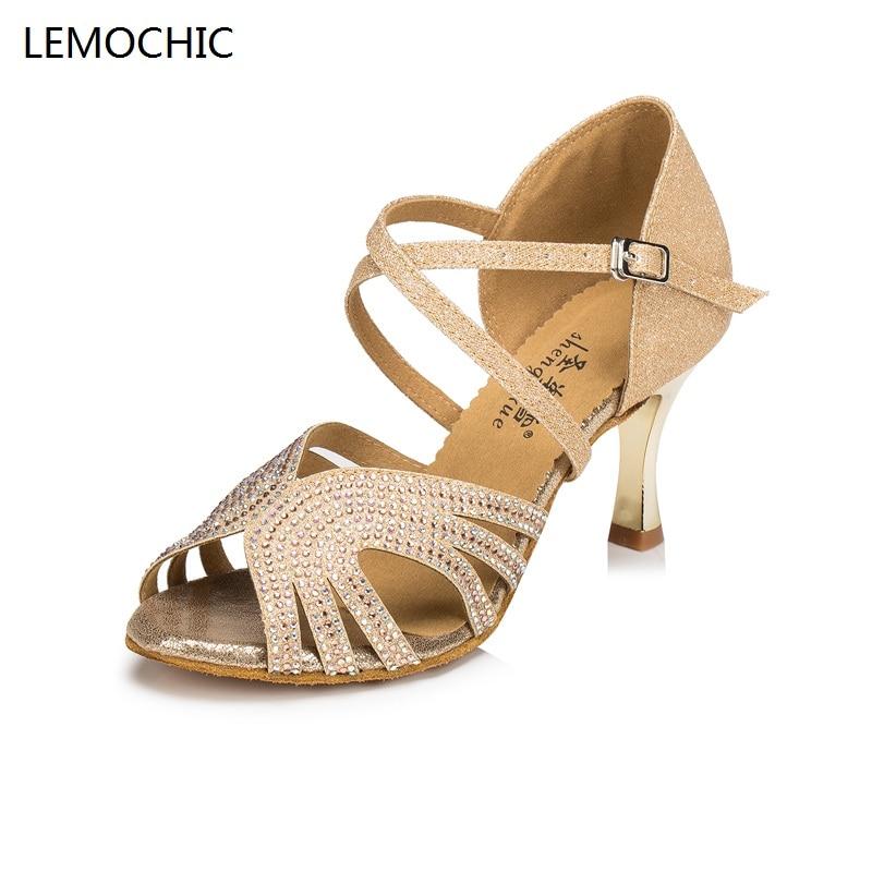 LEMOCHIC newest ballroom latin jazz belly cha-cha dancing hot selling samba rumba pole salsa tango arena dancing dance shoes