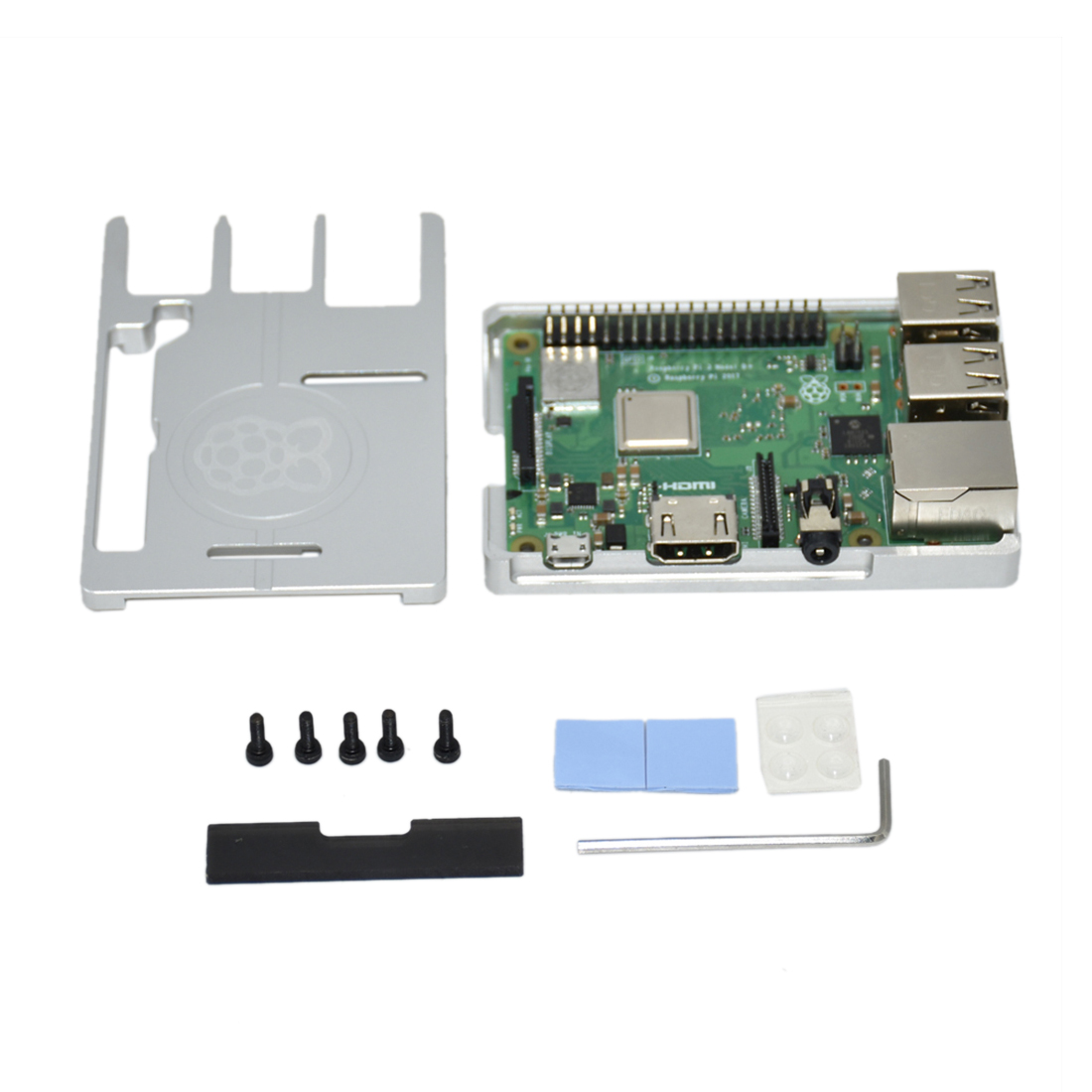 Ultra-Thin Aluminum Alloy CNC Box Portable Shell For Raspberry Pi 3B+  Programmable Toys Accessories - Silver