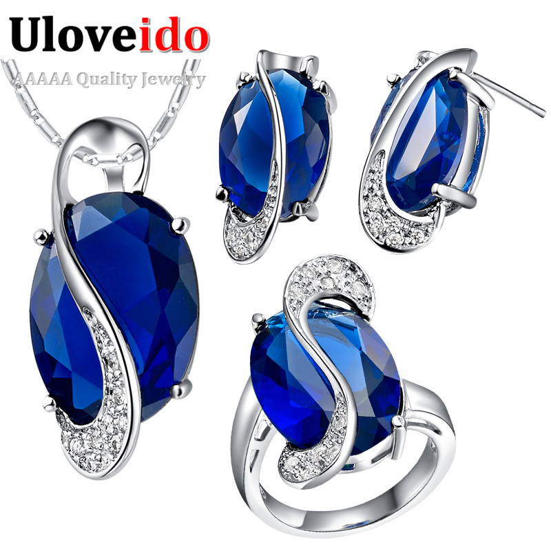 Uloveido 2018 Silver Jewelry Set Rhinestone Cz Diamond Jewelry Sets with Blue Bague Brincos Ring Necklace Earrings Ring T472
