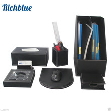 Ever Perfect 7Pcs/Set Wood Black Leather File Stationery Desk Organizer Pen Holder Box Mouse Pad Writing Pad T91