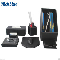 Ever Perfect 7Pcs/Set PU Leather File Stationery Desk Organizer Pen Holder Box Mouse Pad Writing Pad T91