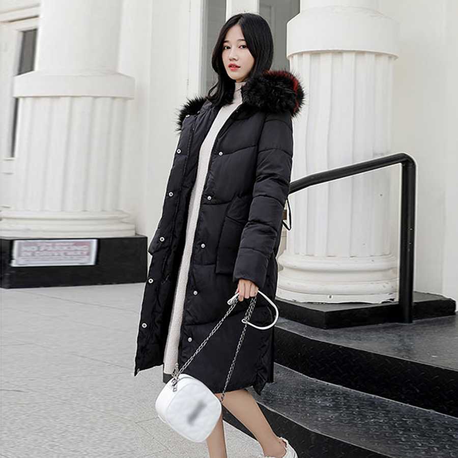 Long Hooded   Down     Coats   Women Padded Section Over Knee Cotton   Coat   Winter New Korean Version Warm Slim Elegant Outerwear Winter