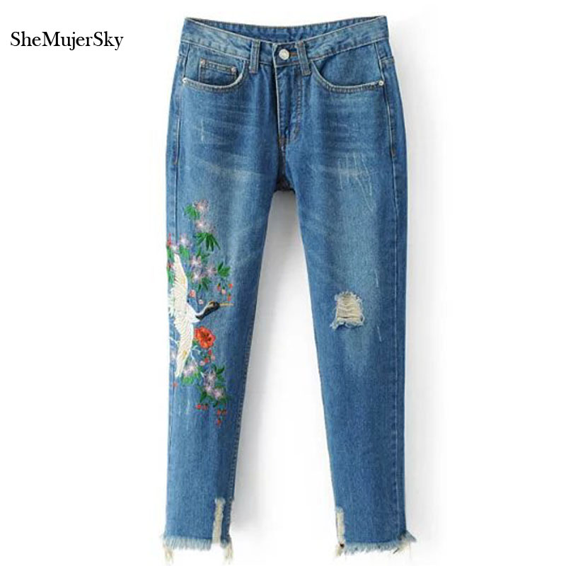2017 New Ripped Jeans for Women Jeans With Embroidery Floral Mid Waist Ankle-Length Denim Pants new summer vintage women ripped hole jeans high waist floral embroidery loose fashion ankle length women denim jeans harem pants