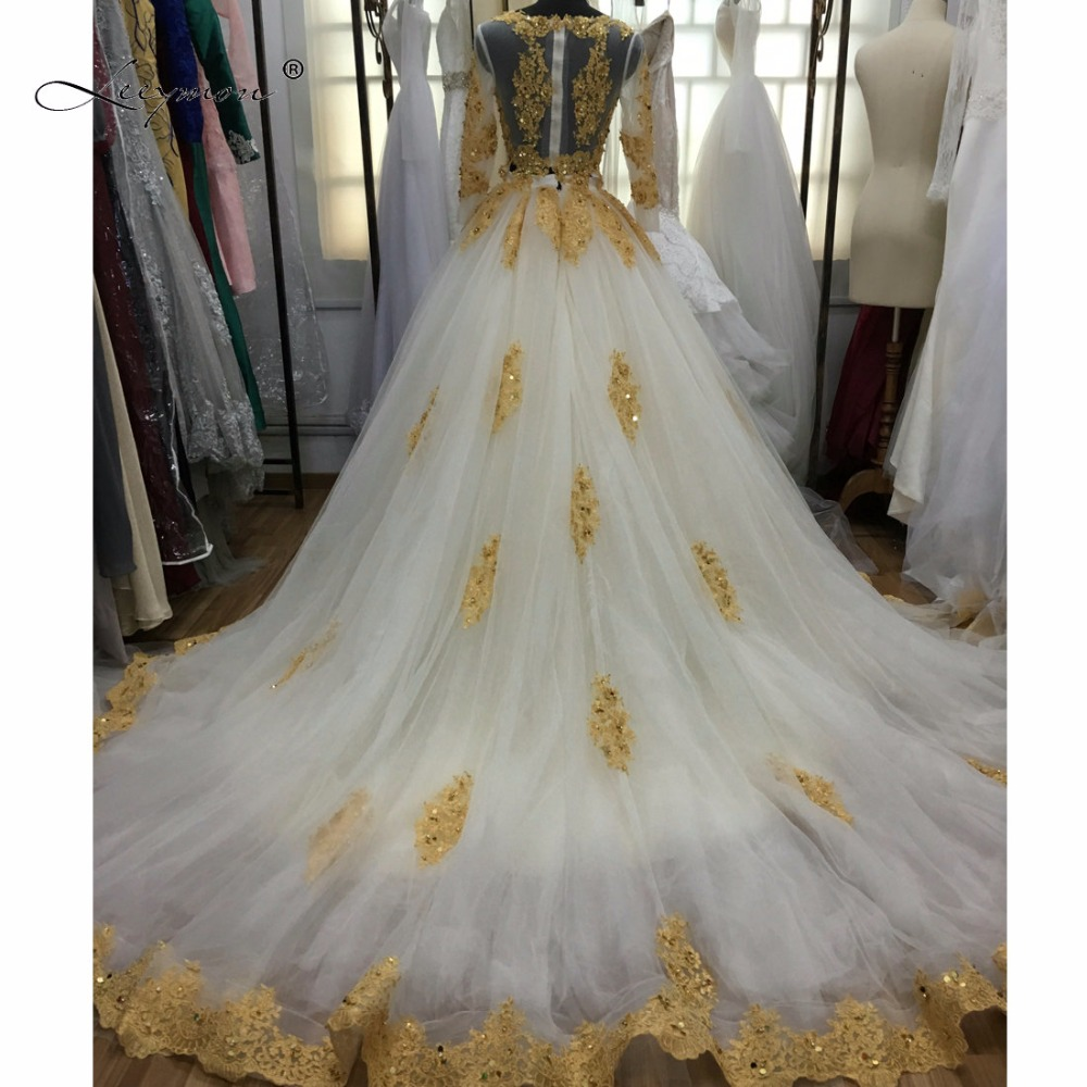 Leeymon Luxury Muslim Rhinstone Ball Gown Two Pieces Wedding Dress White And Gold Bling W45 In Dresses From Weddings Events On