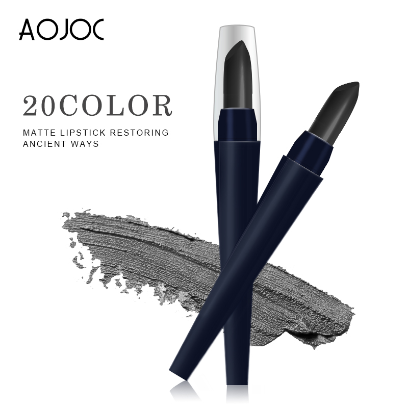 AOJOC Brand Makeup Matte Lipstick Long Lasting Glitter Lip Gloss Waterproof Black Korean Cosmetics Beauty Baby Lips