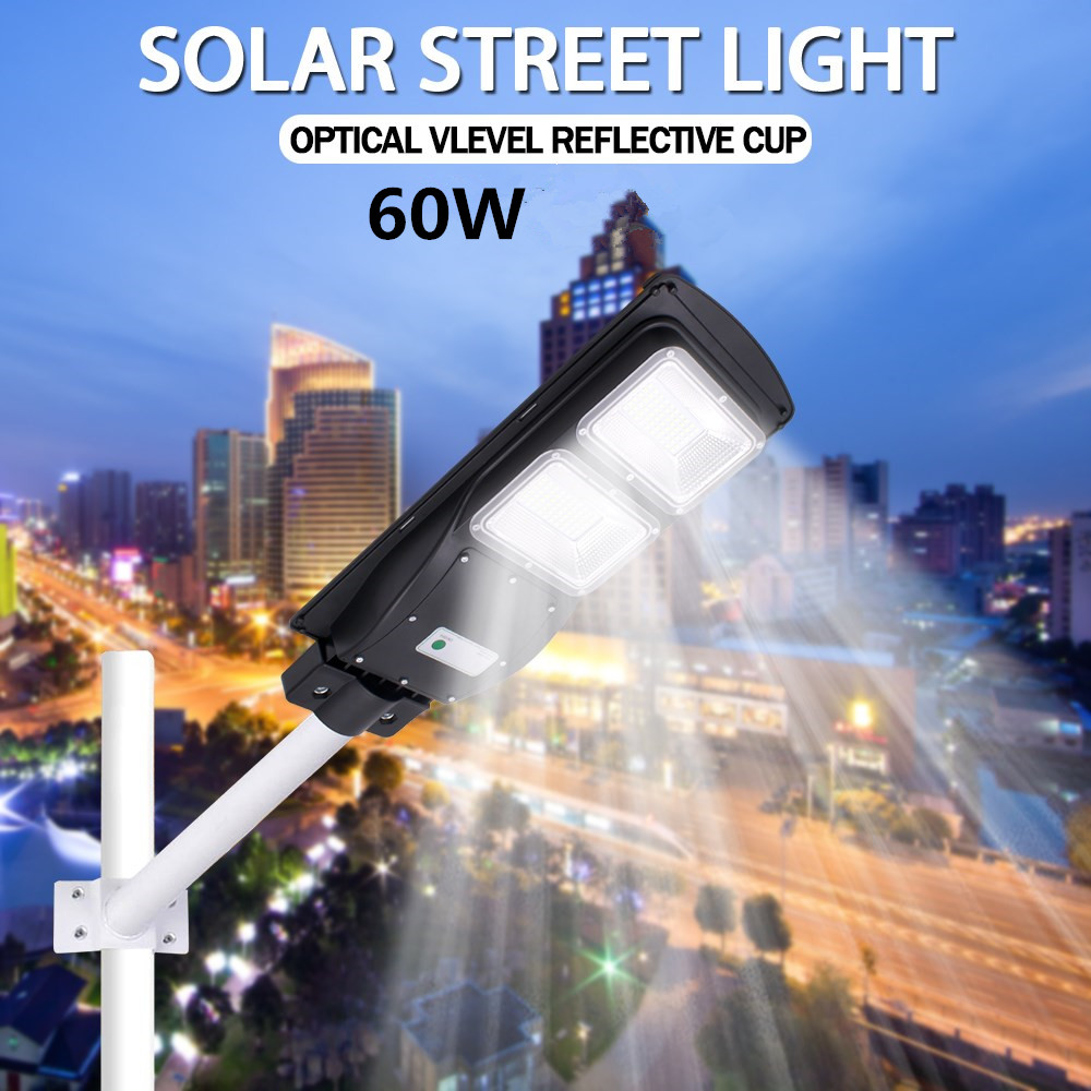 High Quality IP67 60W LED Solar Street Light Outdoor Waterproof Light Control Sensing Smart Led Light Garden Lamp