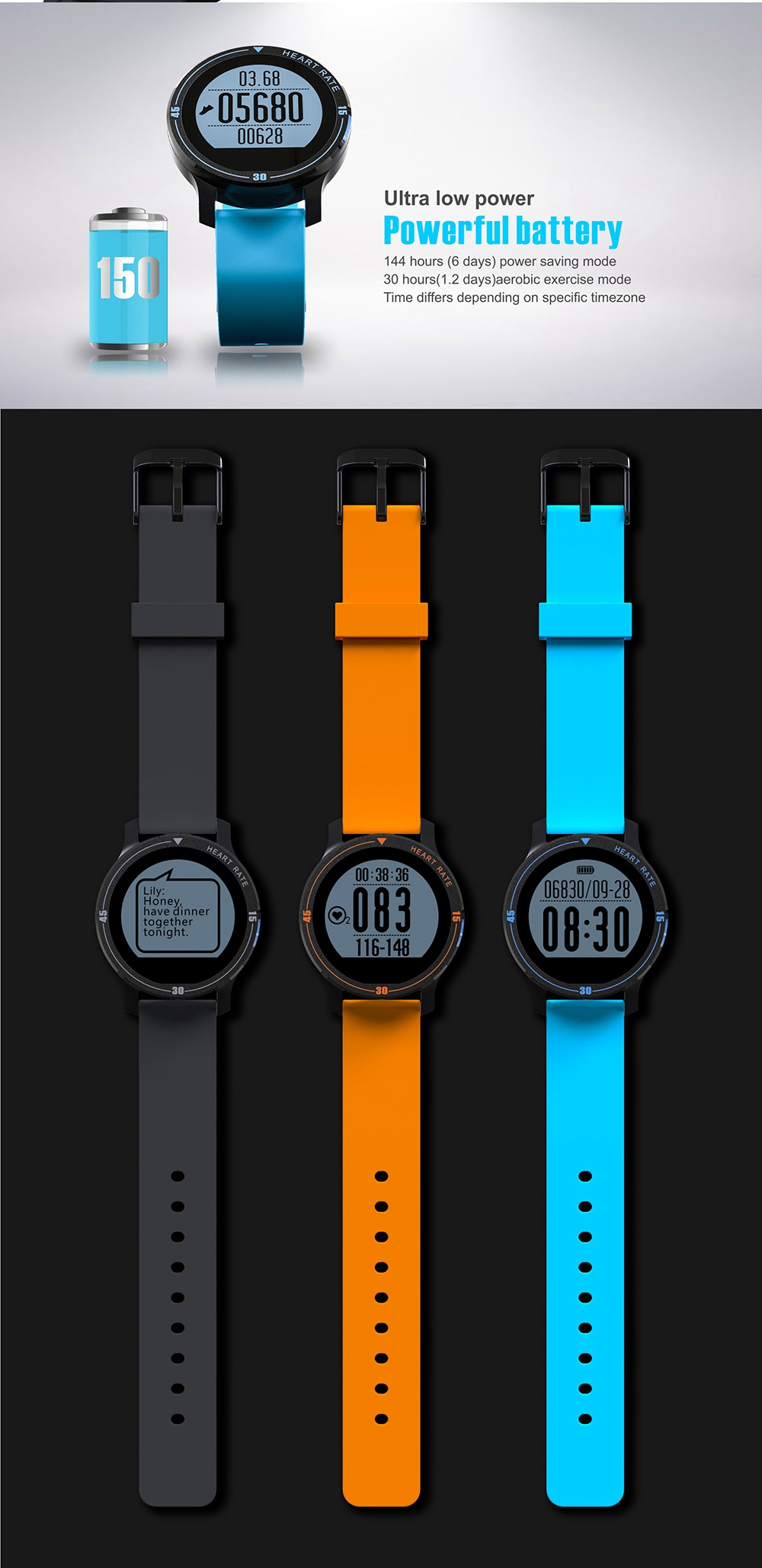 MAKIBES AEROBIC A1 SMART SPORTS WATCH BLUETOOTH DYNAMIC HEART RATE MONITOR SMARTWATCH S200 231407 21