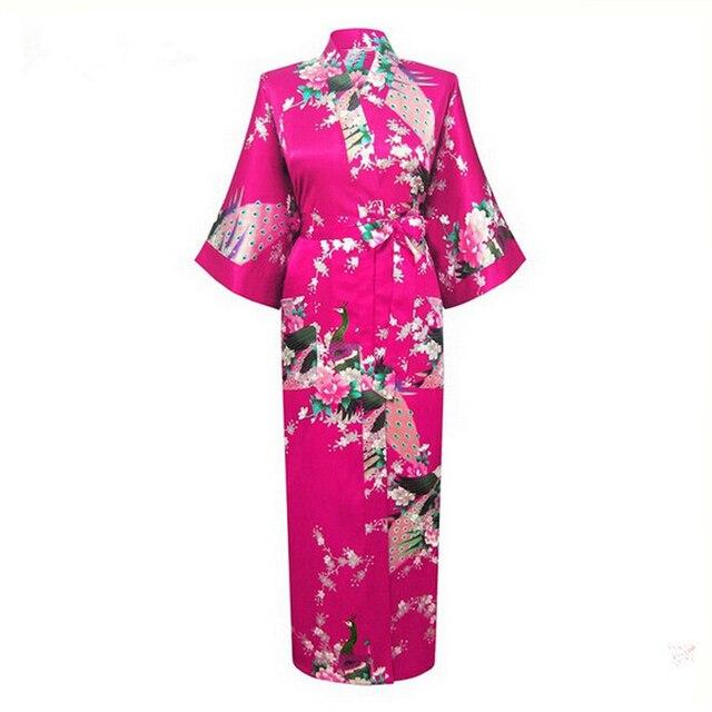 Sexy Women Kimono Bathrobe Wedding Brides Night Gown Robes Lounge Sleepwear With Pocket RB007