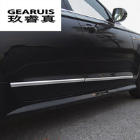 Car styling Auto Side Skirt Car Stickers Side Body Door Waist line Decoration Covers Trim for Audi A6 C7 2012 2018 Accessories