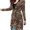 FS Hot Women Thin Coat Leopard Print Irregular Hem Waist Cardigan Suit Coat