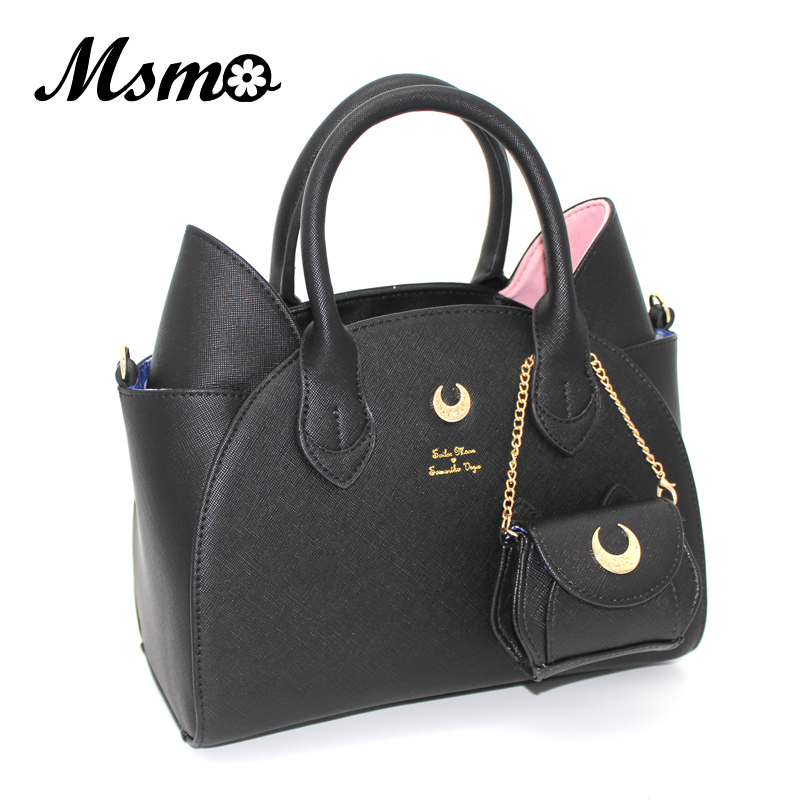 MSMO Sailor Moon Bag Samantha Vega Luna Women Handbag 20th Anniversary Cat Ear Shoulder bag Hand Bag 2017 brand design black white sailor moon luna artemis hand bag samantha vega handbag cat ear shoulder bag messenger bag
