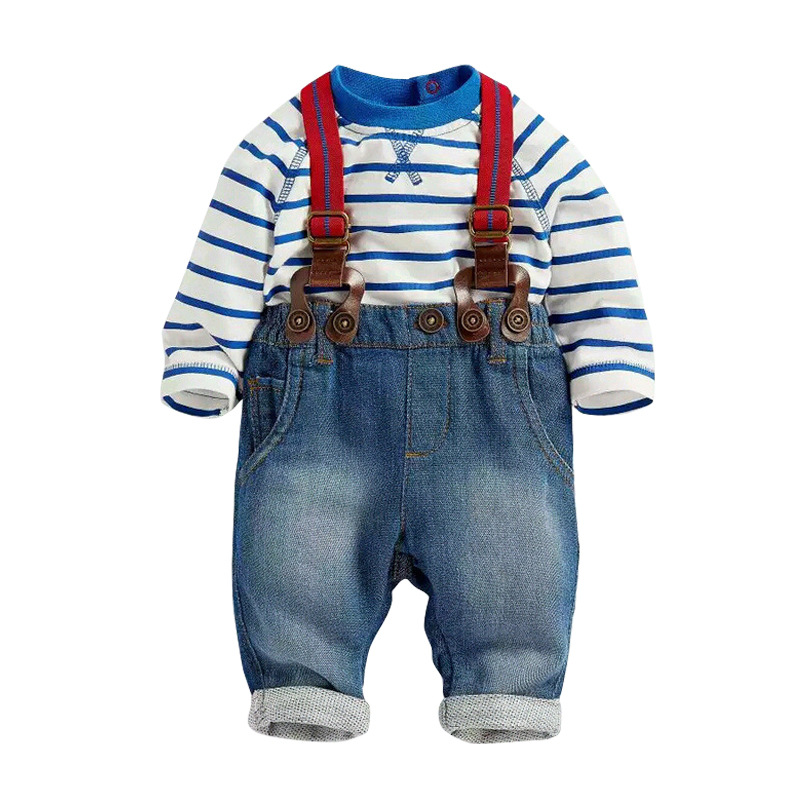 3pcs Baby Clothing Set 2017 Autumn Spring New Baby Boys Clothes Long Sleeve T-shirt Denim Pants Suspender Newborn Suits autumn boys clothing set baby boys 3pcs set outfits black jacket long sleeve t shirt denim long pant children clothes boys 4