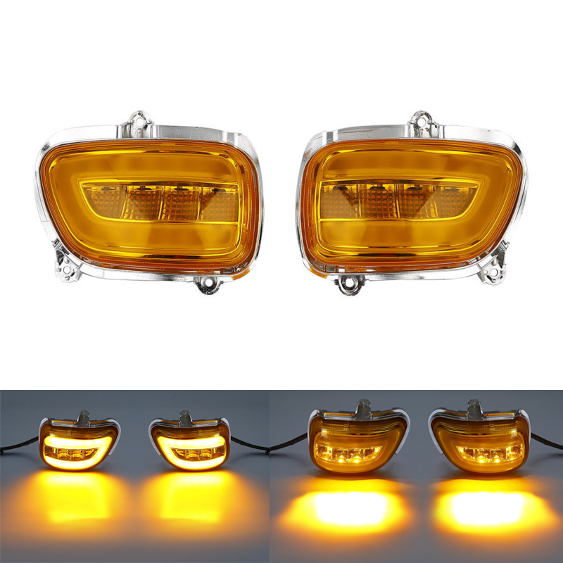 Pair Smoke/Clear/Orange Front LED Turn Signals For Honda F6B 13-17 Goldwing GL1800 2001-2017 front led turn signals smoke for honda goldwing gl1800 2001 2017 f6b 13 17 motorcycle