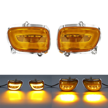 Pair Smoke/Clear/Orange Front LED Turn Signals For Honda F6B 13-17 Goldwing GL1800 2001-2017 Motorcycle motorcycle led front side turn signal blinker case for honda goldwing gl1800 gl 1800 2001 2017 f6b 2013 2018