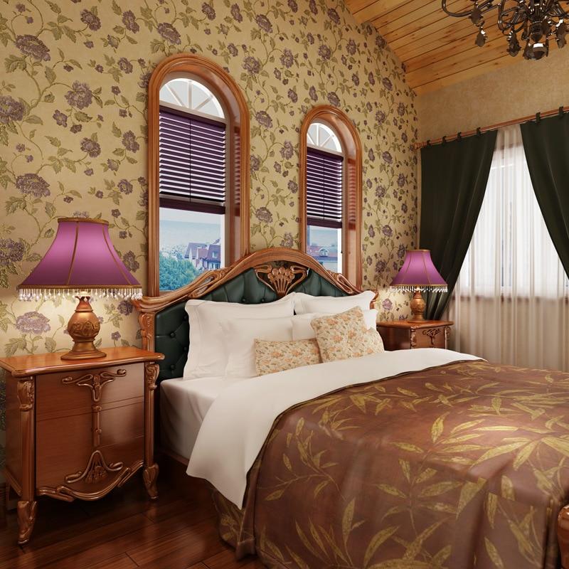 ФОТО beibehang papel de parede American pastoral countryside retro flower gold foil wallpaper bedroom living room TV backdrop