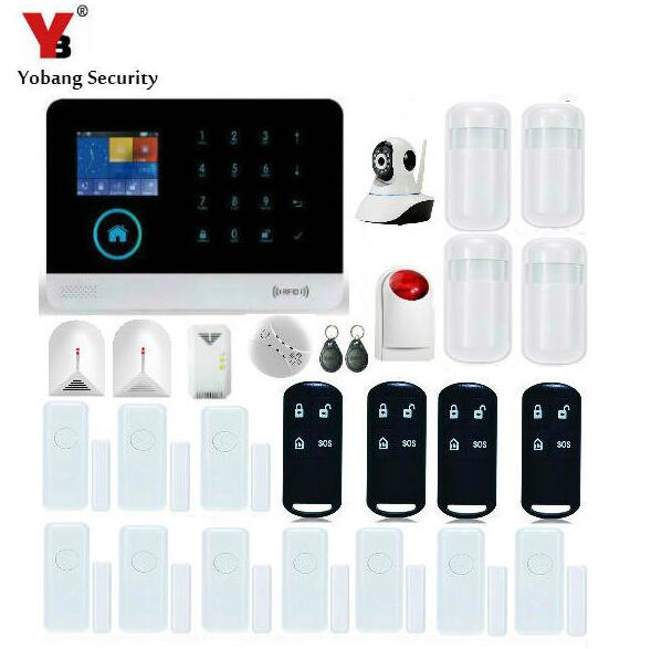Yobang Security-APP Control WiFi GSM SMS Alarmes IP Camera Monitor Home Alarm Security Red Flash Siren Gas Smoke Detector Sensor yobang security wireless wifi gsm alarm system with pir motion smoke sensor detector ip camera app control alarm mainframe kits